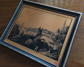 "Vintage Framed Copper Etching by ""ScotEtch"". View of Glasgow and the Cathedral. Made in Scotland Copper Art in Decorative Frame. ROP0094"