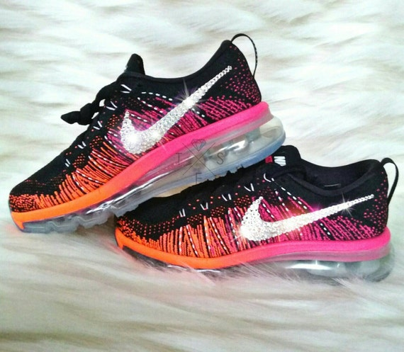 Nike Air Max 2016 Flyknit with Swarovski Crystal Bling - Pink /Reflective Silver/Black (Pink Orange Ombre)