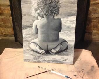 "Little Boy Playing on the Beach, ""Innocence"" - original acrylic on canvas painting"