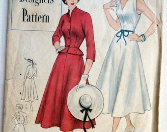 Vintage 1950 Flared Skirt Dress and Jacket with Peplum Unused Simplicity Pattern 8238 Size 14 Bust 32. FREE SHIPPING!