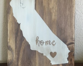 Wooden home state sign