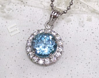 3.0Ct. Sky Blue Natural Aquamarine Pendant, Dazzling Round Cut Genuine Aquamarine In Sterling Silver Pendant Necklace,  March BirthStone