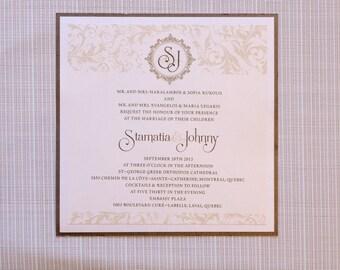 Damask Wedding Invitation, Damask Invitation, Damask Wedding Invitations, Damask invitations, square invitations, square invitation, vintage