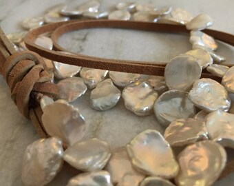 String of Petal or Keshi Pearls and Leather Necklace