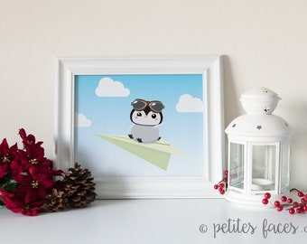 Kawaii Baby Penguin on paper plane in the sky print for nursery or children decor
