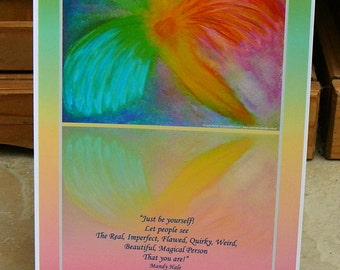 Fly with Quote, A4, Print, Celestial Healing Art by Eva Maria Hunt - Angels, Self-Love, Letting Go, Confidence, Balance