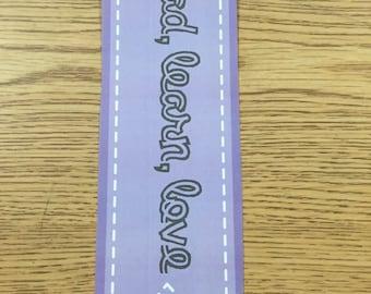 Bookmark (Read, Learn, Love) Purple & Grey