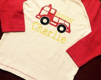 Boys peronalized Raglan firetruck shirt.