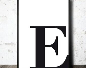 Letter E poster printable in A4. printable typography letter E. Lamina decorativa imprimible diseño escandinavo