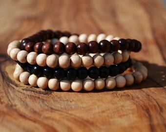 Set of 4 Wooden Bead Bracelets - 6mm