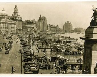 Vintage Postcard, Digital Download, Antique Postcard, 1930's, The Bund, Shanghai, China