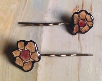 Flower Hair Pins - Light Umber + Raspberry
