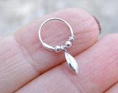 Cartilage Earring , Tiny Leaf Silver Cartilage Hoop Earrings , Helix piercing , Tiny Hoops , Leaf Piercing , 22 gauge