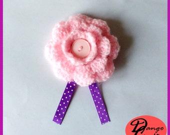Crochet Hairclip Flower Pink
