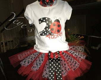 2nd Birthday Tutu Outfit | Second Birthday Tutu Outfit | Lady Bug Tutu | Lady Bug Birthday Tutu Outfit | Red and Black Birthday Tutu Oufit