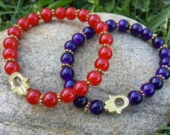 Hamsa Chakra Stretch Bead Bracelets