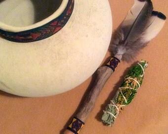 Smudge Fan, Ceremony Fan, Native American Inspired, Narragansett Feathered, Metaphysical, Prayer Fan