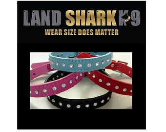 Diamonte Dog or Cat Collar with Faux Suede Leather for a Diva Puppy Dog or Kitten