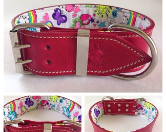 Pink Leather Dog Collar with Fluro Fun Peace & Love Inner Lining