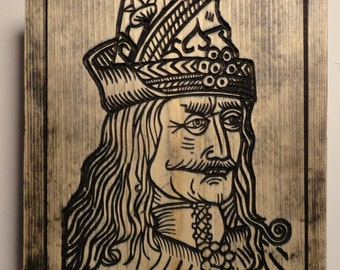 Vlad the Impaler Carved in Pine Evil Dracula Vampire Nosferatu Gothic Home Decor Woodcut