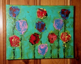 Abstract flowers still life, original canvas painting, abstract flowers, 16x20