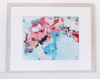 Modern abstract giclee print,   pink and blue art, abstract art, pantone 2016 colors