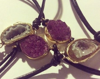 Druzy gold dipped bracelet - purple