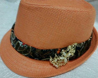 """Awesome Fedora Hat with vintage brooch. Brooch is over 4"""" long  This is just beautiful. These are all one of a kind hats. Quite the fashion!"""
