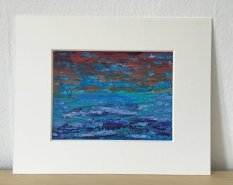 Abstract art, acrylic painting on paper, 24 x 32 cm