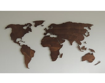 3d wooden world map XXL, floating on the wall
