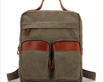 canvas cow leather hand made shoulder bag