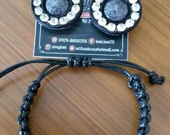 Small earrings and bracelet set