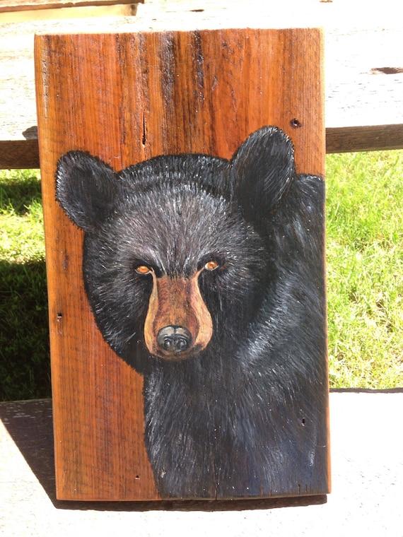 Black bear wall decor home decor barn board black bear for Bear home decorations