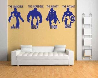 The Avengers wall art room wall sticker/hulk/captin america/thor/ironman/film/book/game wall sticker