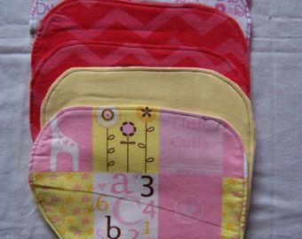 Flannel baby burp cloths in girl colors