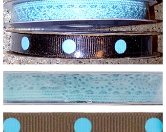 2 Rolls of Coordinating Offray Ribbon & Trim.  1 Offray Dippy Dots Ribbon in Brown/Blue, 1 Offray Crochet Trim in Aqua.