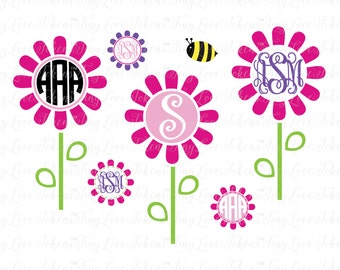 Spring Flower Monogram SVG Design for Silhouette and other craft cutters (.svg/.dxf/.eps/.pdf)
