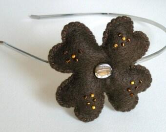 Brown felt flower headband