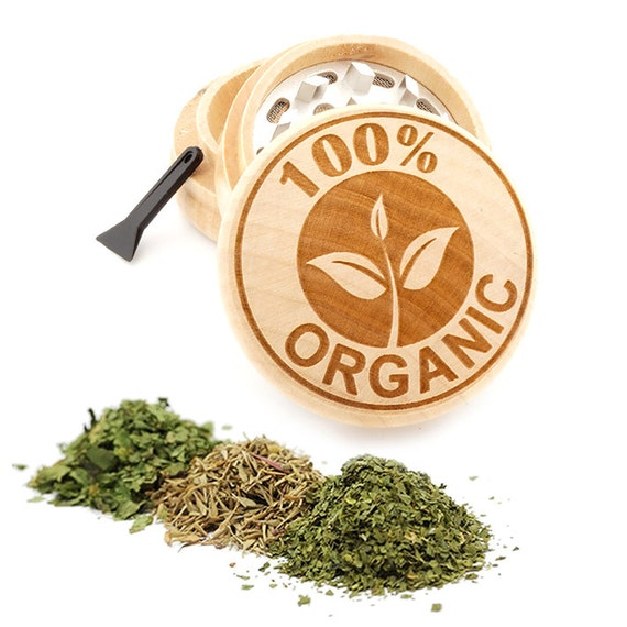 100% Organic Design Engraved Premium Natural Wooden Grinder Item # PW050916-115