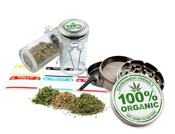 "100% Organic - 2.5"" Zinc Alloy Grinder & 75ml Locking Top Glass Jar Combo Gift Set Item # G50-82515-3"