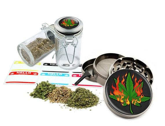 """Burning Leaf- 2.5"""" Zinc Alloy Grinder & 75ml Locking Top Glass Jar Combo Gift Set Item # G022115-001"""