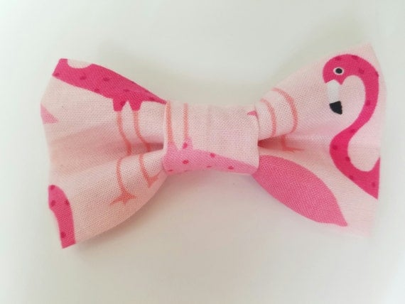 Pink Flamingo Bow Tie for Cat or Small Dog Collars, Matching Velcro Collar, 100% Sales Goes to Feeding Feral Cats