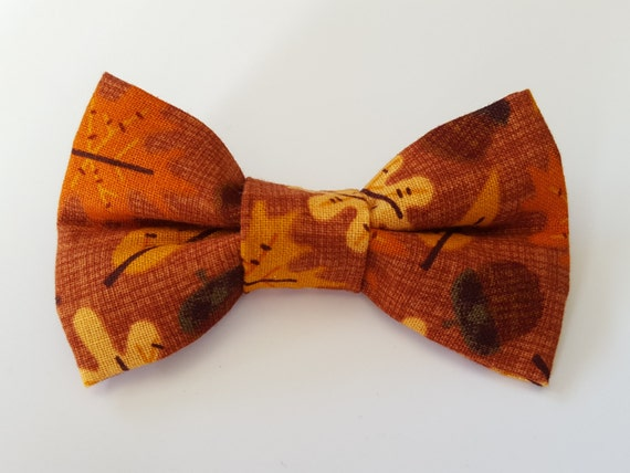 Fall Leaves Bow for Cat and Small Dog Collars, Matching Velcro Collar 100% Sales Donated to Feeding Feral Cats Read in Bio