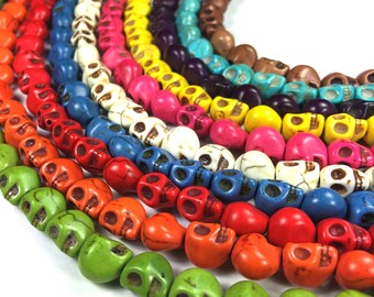 Skull Beads Howlite Full Strand 40pcs 9mm
