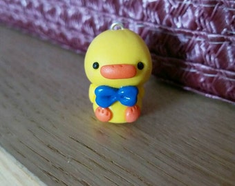 Blue bow tie kawaii baby duck polymer clay charm