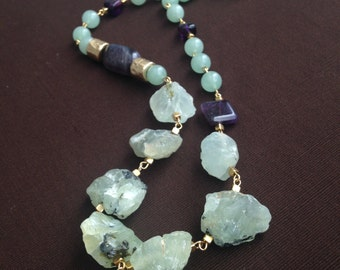 """23""""Natural Untreated Prehnite Nuggets Amethyst Jade Necklace by CityStonesJewelry"""