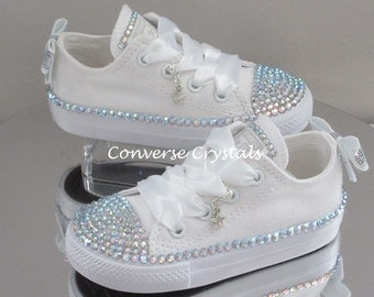 Infant Bridesmaid /Bridal Custom Crystal *Bling* Converse Sizes 2-10. Various Options Available