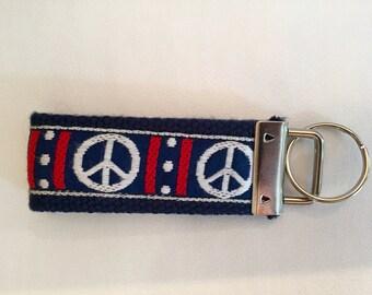 Patriotic Peace Sign Key Fob