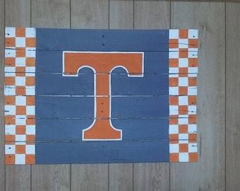 Tennessee Volunteers Handpainted Pallet sign, Vols checkerboard T sign, Big Orange, Tennessee wooden art, Reclaimed wood Volunteers sign