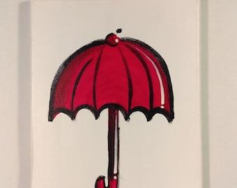 Red umbrella canvas art